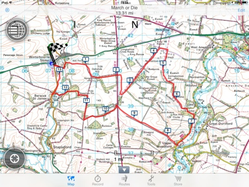 The Route. All 13 odd miles of it!