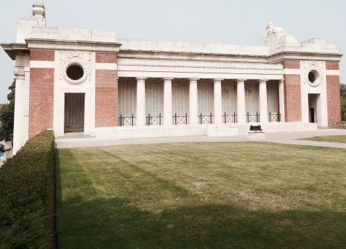 A side view of the Menin Gate